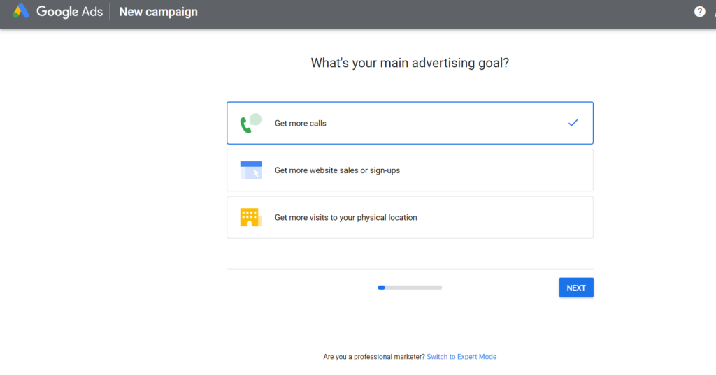 Set your advertising goal with Google Adwords