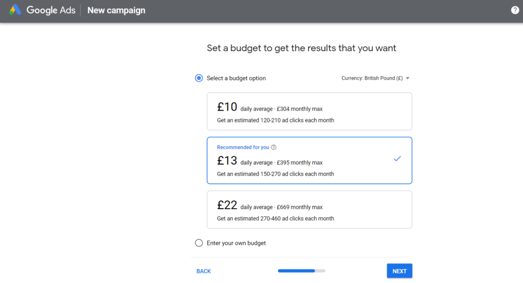 Set your budget with Google Adwords