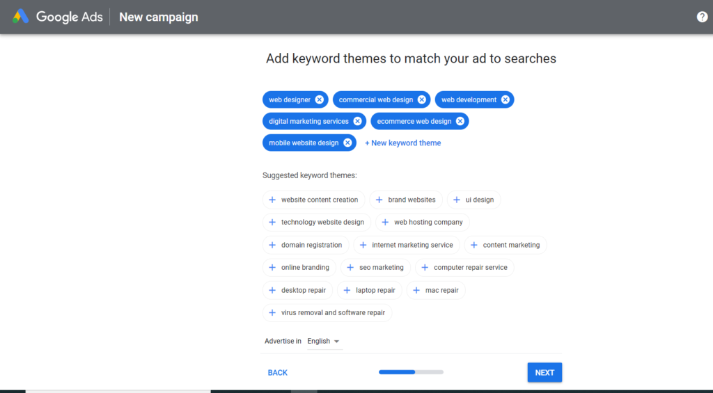Set your keywords with Google Adwords