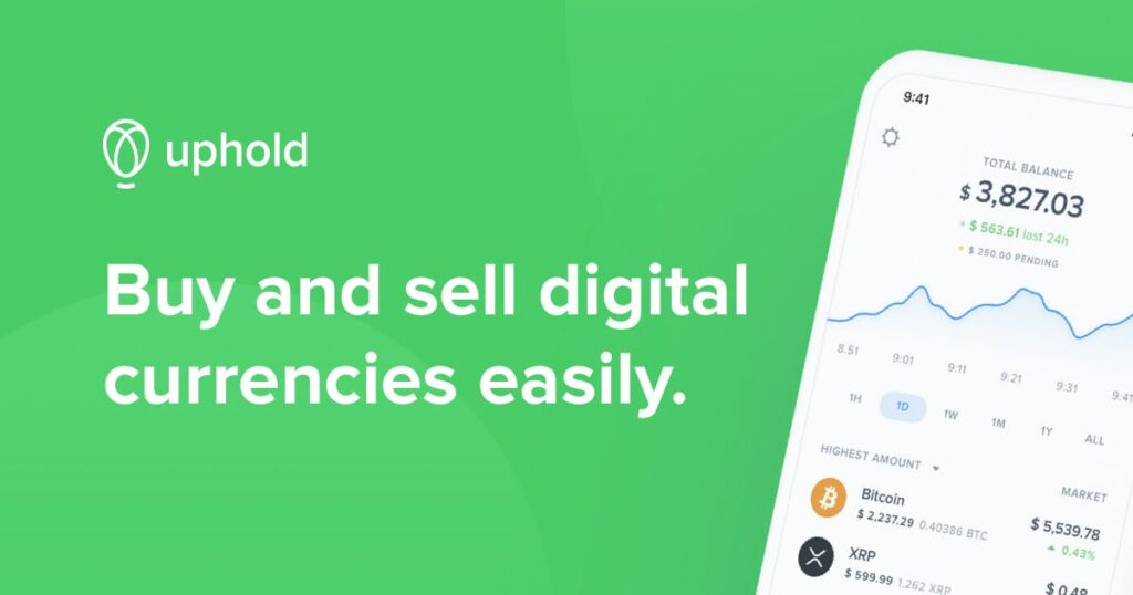 """uphold logo that says """"Buy and sell digital currencies easily"""""""