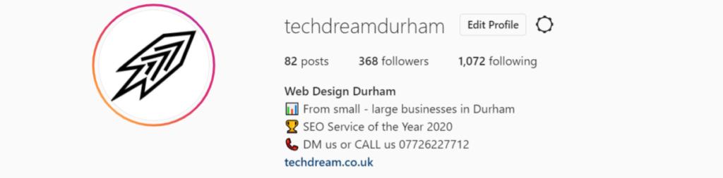 Tech Dream's Instagram account which is @techdreamdurham